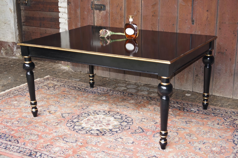 Table De Repas Ou D Appoint Bois Massif 160x120cm Noir Et Dor  # Bois D'Acajou Noir