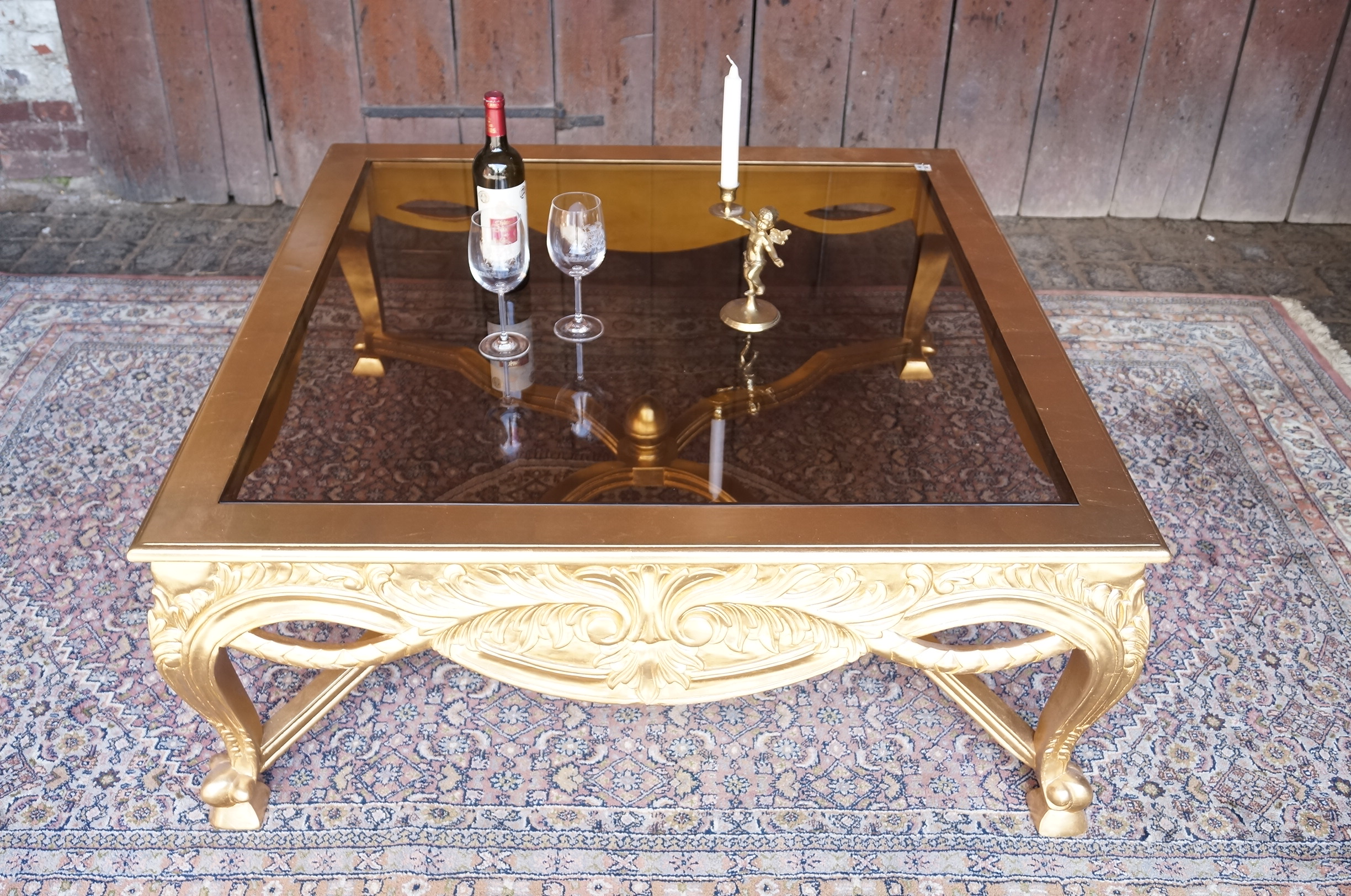 Tr s grande table basse salon 120x120cm en bois massif - Tres grande table basse ...