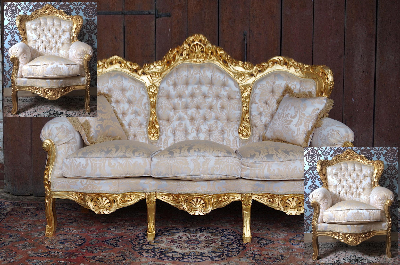 sitzgruppe sofa und 2 sessel vollvergoldet mit edlem barockstoffbezug esprit de ch teau. Black Bedroom Furniture Sets. Home Design Ideas