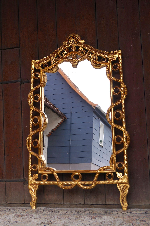 Unique miroir sur pied style baroque louis xv dor la for Miroir sur pied baroque