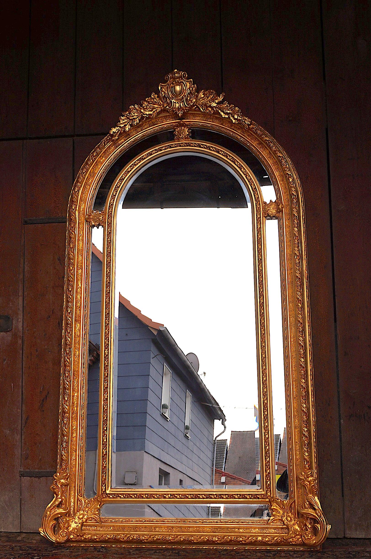 imposant miroir 215x119cm bois massif dor la feuille d or d un chateau bx esprit de ch teau. Black Bedroom Furniture Sets. Home Design Ideas
