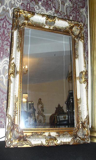 Grand imposant miroir style baroque louis xvi blanc et dore pour palais esprit de ch teau for Grand miroir blanc baroque