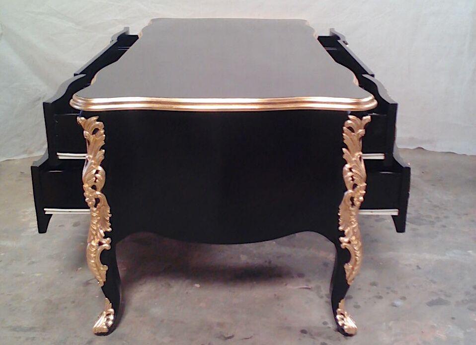 Magnifique bureau cm double face style baroque noir et dorÉ À