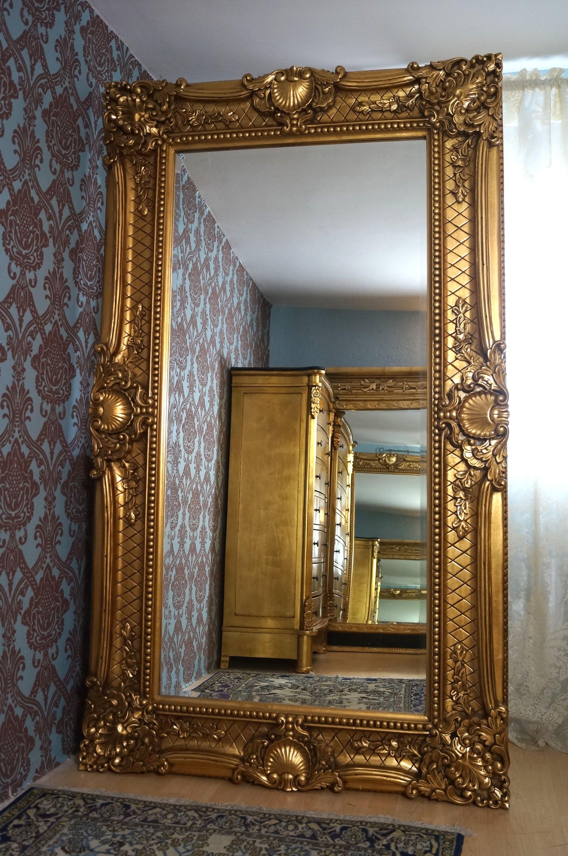 grand miroir 190x110cm en bois massif style baroque glace pour palais esprit de ch teau. Black Bedroom Furniture Sets. Home Design Ideas