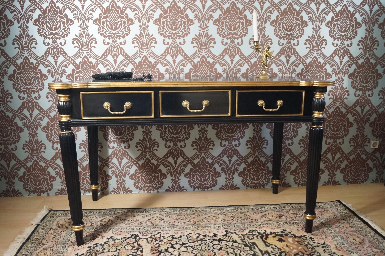 Elegant bureau plat bois massif noir et dorÉ À la feuille dor table