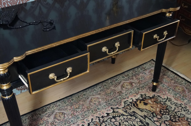 Elegant bureau plat bois massif noir et dorÉ À la feuille d or