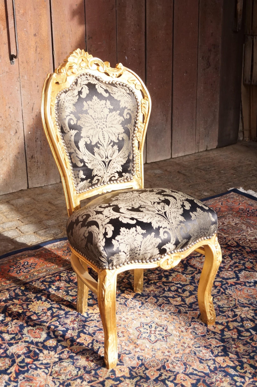 5 sitziges esszimmer mit tisch st hlen armlehnst hle edel vergoldet stoff schwarz barock. Black Bedroom Furniture Sets. Home Design Ideas